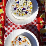 Fresh cheeses decorated with fresh edible flowers. There were on our market stall and really caught the eye.